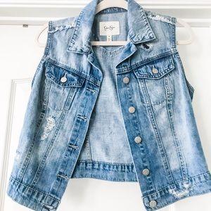 Jessica Simpson cut off jean vest jacket